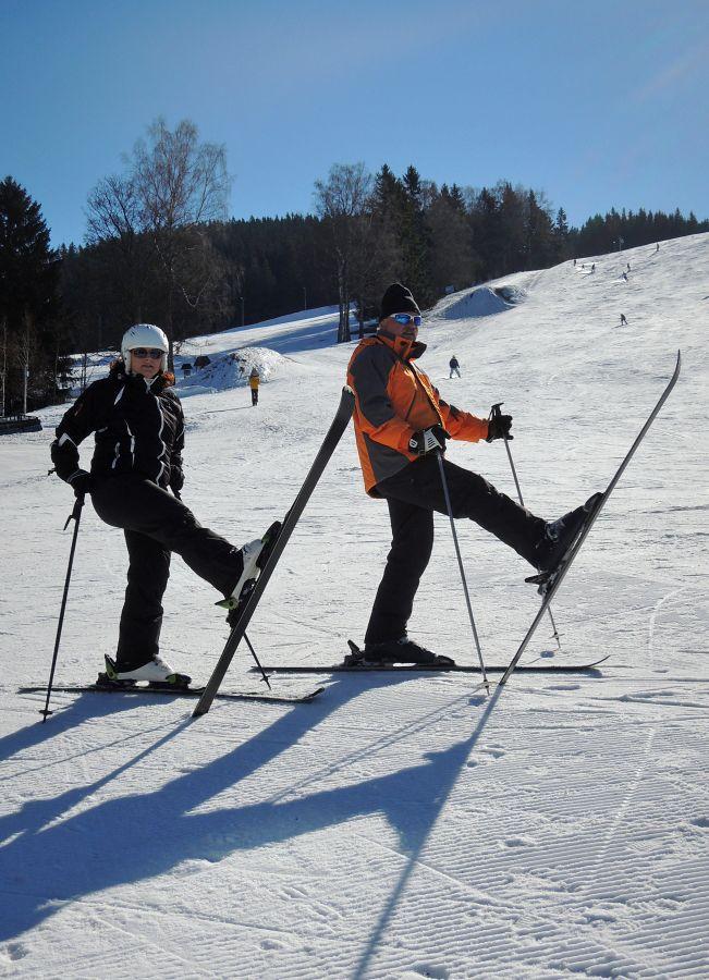 Veselí lyžaři