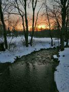 Západ slunce, říčka Deštná
